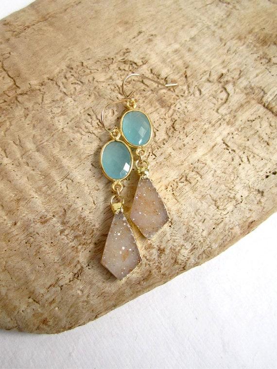 Sand Druzy Earrings Drusy Quartz Aqua Blue Chalcedony Gold Vermeil Bezel Set