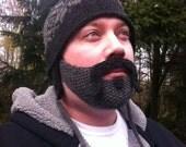 Biker Beard, gray w/dark gray mustache (handlebar w/soul patch)