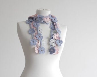 Women Crochet Necklace, Scarf, Floral Accessories in blue grey pink