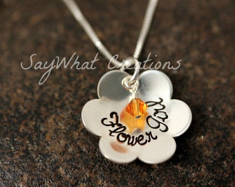 Custom Hand Stamped Sterling Silver Flower Girl Necklace