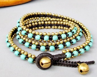 Charm Triple Wrap Bracelet with Turquoise Stone  and Brass Bead W175