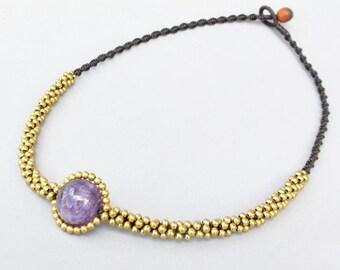 Charm Round 12 mm Amethyst Stone Stud Necklace N211