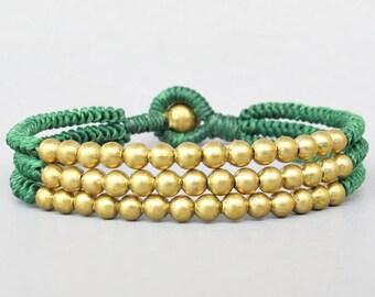 Multi Line Brass Bead Green  Wax Cord Snake Knot Bracelet B188