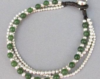 4 mm Aventurine Stone Silver Colour Bead Multi Line Bracelet