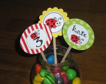 Ladybug : Cupcake toppers - Set of 24