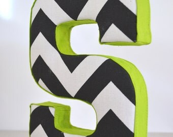 LETTER WALL ART - Fabric Letter S in Black Chevron with Citrus Green Ribbon