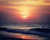 beach photography orange yellow blue navy coral pink black /16x20 Fine Art Photograph / Myrtle Beach SC / Beach Sunrise n.7