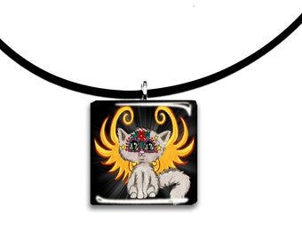 Day of the Dead Cat Fairy, Frixie pixie cat, Fantasy art glass tile pendant, grey, yellow and black
