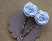 Dainty Ivory Wool Blend Felt Set of Two Bobby Pins on Bronze Bobbies
