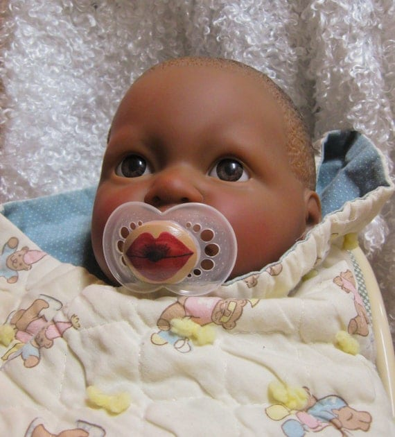 NEW Kissy Face with Darker Skintones- Hand Painted Custom Pacifier