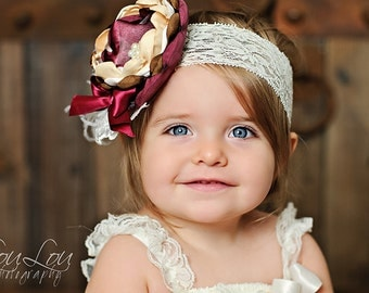 Gorgeous Cranberry and Gold Satin Flower Headband - Fall Headband - M2M Matilda Jane Collection