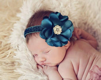 Stunning Teal Blue Turquoise Headband - Baby Girl Toddler Headband -  Great Photo Prop