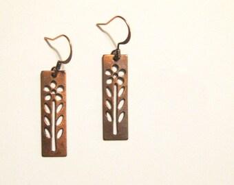 Copper Daisy Dangle Earrings
