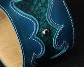 Leather Cuff, Leather Bracelet, Turquoise Cuff, Leather Band: Revelry Cuff
