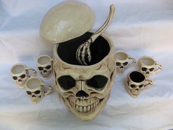 halloween, decoration, skull, bowl