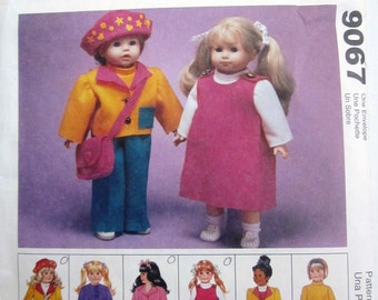 McCalls 9067 Craft 90s Doll Clothes Sewing Pattern  for 18 inch Doll