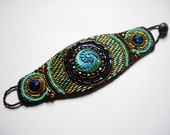 Bead Embroidery Bracelet Cuff Turquoise Teal Blue Bead Embroidered - MADE TO ORDER