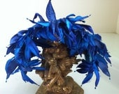 Royal Blue Vintage 50s Headband Hat with Velvet and Silk Leaves