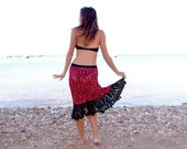 OOAK Lacy crochet skirt, versatile short dress, colorful, black frill, Lace, shades of burgundy.