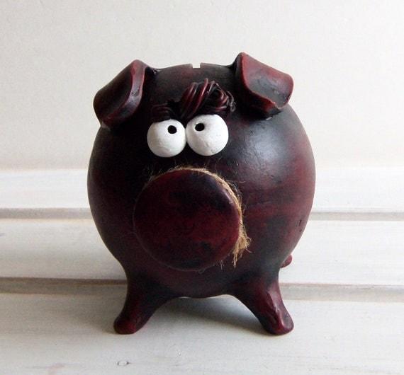 Large handmade piggy bank burgundy ceramic one of a kind for Handmade coin bank