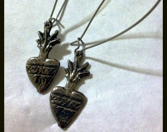 Sacred Heart Milagros Ex Voto Long Earrings