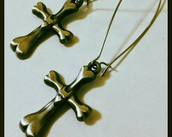 Frankenweenie Sparky Metal Bone Cross Tombstone Long Earrings, Tim Burton Inspired