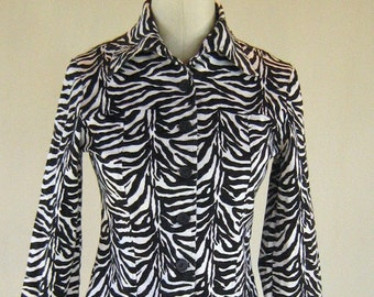 Wild Zebra Print Fitted Jacket Top Shirt