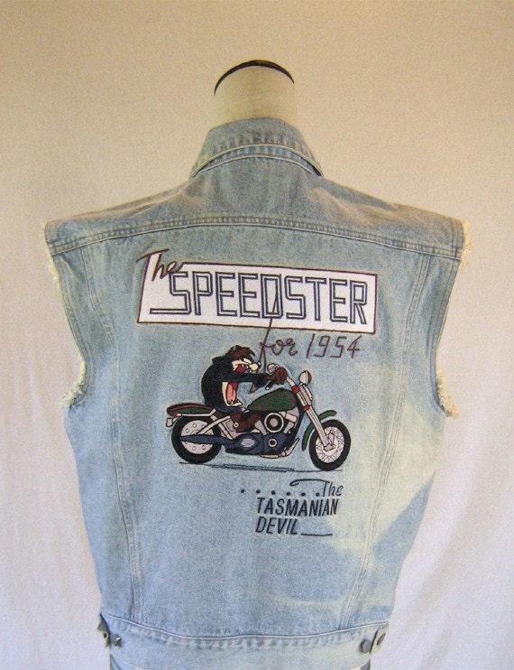 Speedster Tasmanian Devil Jean Jacket Vest Top Taz