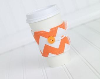 Orange Chevron Coffee Sleeve Coffee Cozy for Men or Women, Reusable Adjustable Coffee Cuff
