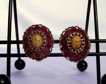Vintage Clip on Earrings Bronze with Red Rhinestones and Rust Enamel Stones