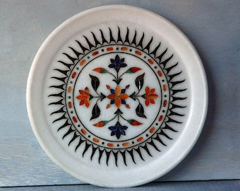 Indian Hand-Inlaid Marble Plate