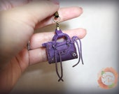Tiny Cell Phone Bal City Leather Bag Charm in Purple (Reserved)