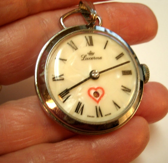 1980s Lucerne Pendant Watch Beating Heart Swiss By