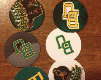 """50 Precut 1""""  Baylor University - Bears Circle Images - For Bottle Caps, Hair bows, Buttons, Stickers, Magnets, Jewelry, and Scrapbooking"""