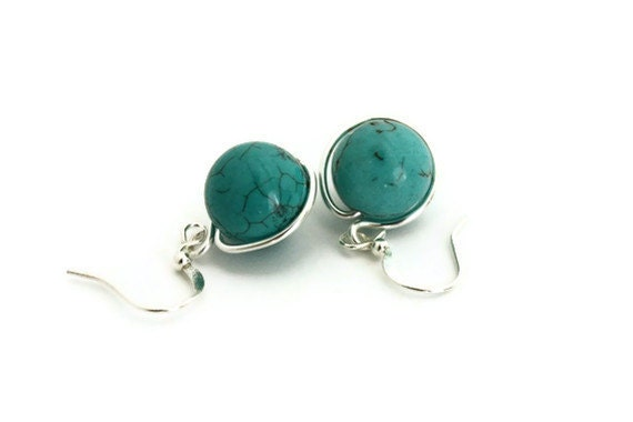 Earrings turquoise blue dangles aqua wire wrapped handmade canada