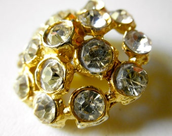 Vintage Large Rhinestone Button 1960s Faceted Rhinestone Gold 1 1/4 In Round Sparkly Button Supplies Jackpot Jen