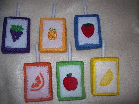 Felt Fruit Juice Box Playfood