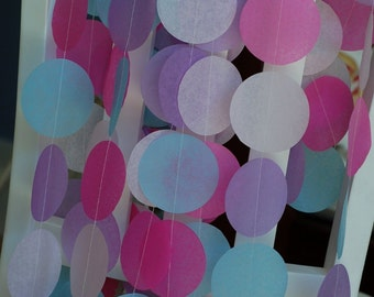 Tissue Paper Garland, Party Garland, Birthday Garland, Wedding Garland, Shower Garland, Princess Garland: Pink and Purple