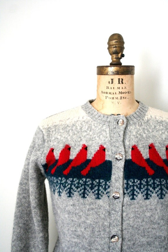 vintage cardigan sweater 1980's ORVIS shetland wool HOLIDAY BIRDS