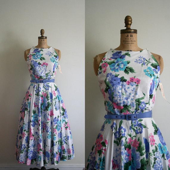 vintage dress LANZ periwinkle 1980's GARDEN PARTY floral / new with tags - nwt