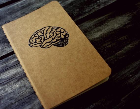 Halloween Second Brain Blank Pocket Size Moleskine Journal Notebook Hand Carved Design Anatomy Science Nerd Geek College Student Gift