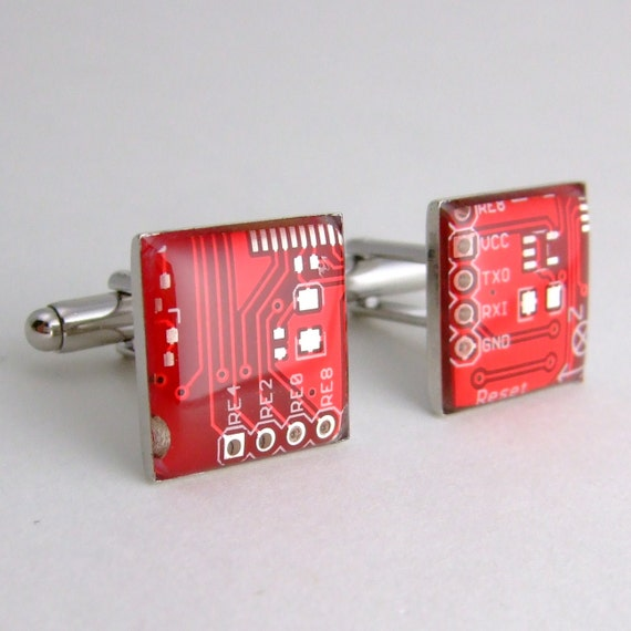 CLEARANCE  Circuit Board Cufflinks -- Red, Square Domed