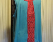 Reconstructed Recycled EcoFriendly Ladies' Top Sleeveless Plus Size 3X Turquoise with Burnt Red Indian Silk  Asian Ethnic Lovely