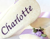 Purple Floral, Wedding Baby Shoes, Beautiful Flower Accent, FREE Personalization, personalized baby girl shoes
