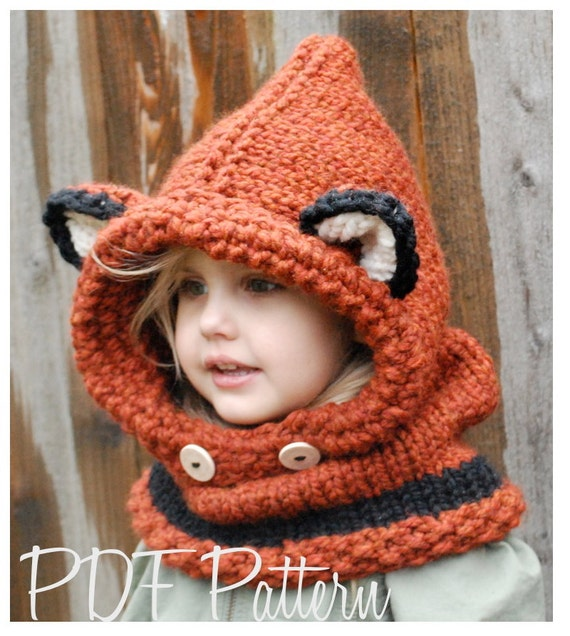 Free Crochet Fox Cowl Hat Pattern : KNITTING PATTERN Failynn Fox Cowl 12/18 months Toddler