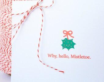 Holiday / Christmas Cards -- Why, Hello, Mistletoe -- Set of 10 Christmas / Holiday / Celebration Cards & Envelopes