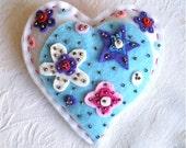 "Christmas, Ornament, Heart, Handmade, Felt, Sequins, OOAK, 4 1/2"" x 4 3/4"", 1 ornament, White, Blue"
