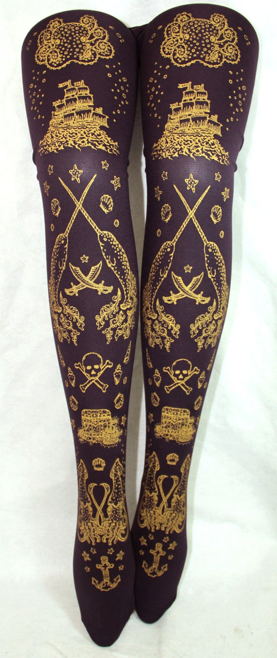 Pirate Narwhal Tattoo Tights Large Printed Tights Gold on Purple Women Octopus Squid