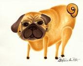 Handsome Standing Fawn Pug Dog: Original Marker Drawing SALE
