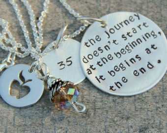 Custom Necklace,Sterling Silver Necklace,  Gift For Teacher, Apple Charm, Apple, Journey Quote, Travel Necklace, Retiree Gift